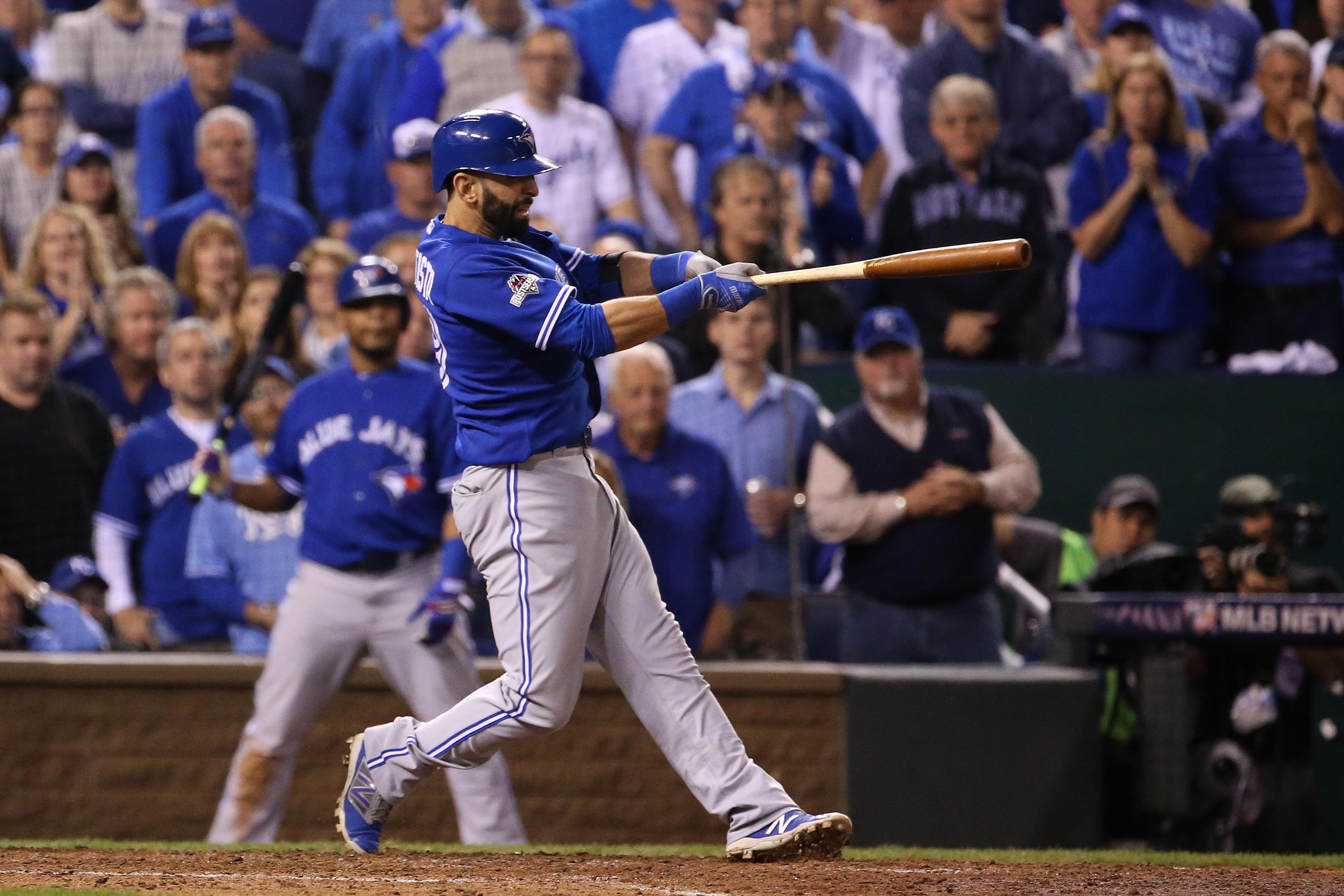 """<span class='image-component__caption' itemprop=""""caption"""">KANSAS CITY, MO- OCTOBER 23: Jose Bautista hits a two run homer.</span>"""