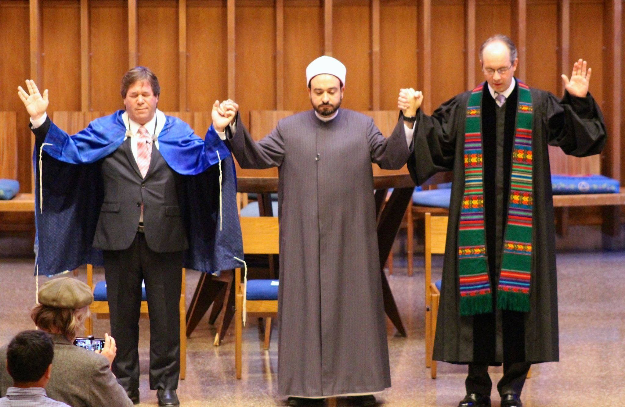 "<span class='image-component__caption' itemprop=""caption"">Rabbi Schnitzer, Dr. Tarek Elgawhary and Pastor David Gray pray together during an interfaith service at Bradley Hills Presbyterian Church in Bethesda, Maryland.</span>"