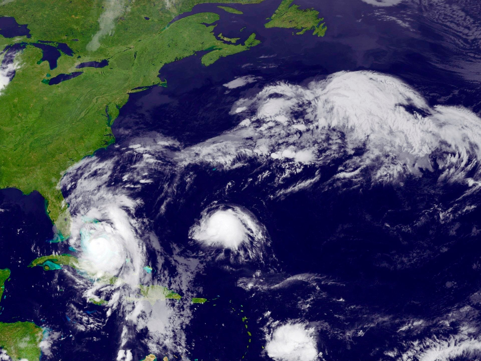 Hurricane Matthew is seen approaching the East Coast of the United States in this image from NOAA's GOES-East satellite taken October 6, 2016.