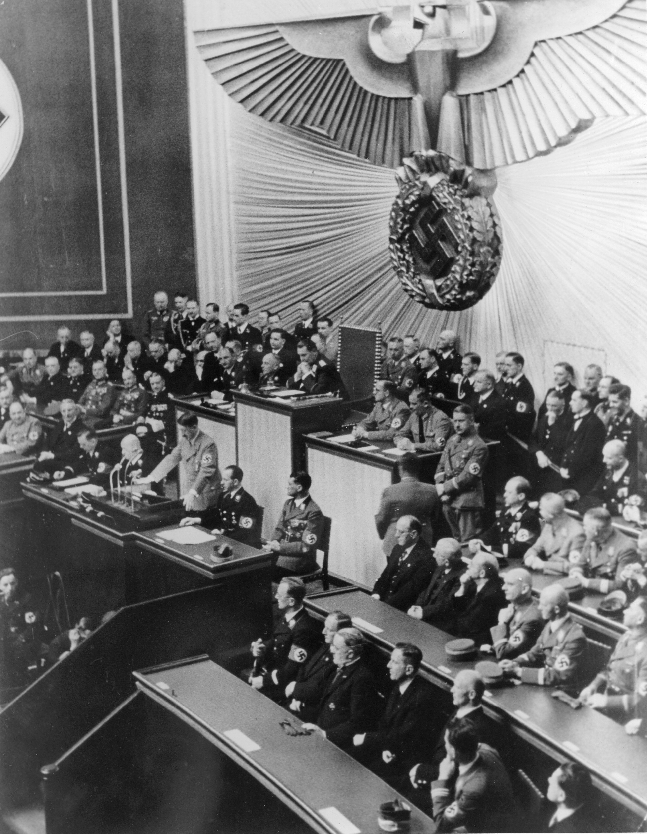 Hitler addresses the Reichstag in Berlin in 1938. Anton Reinthaller is in the first row, fifth from left, according to a caption provided by Getty