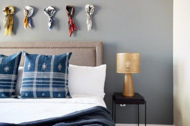 small farmhouse bedroom ideas with bandanas on the wall