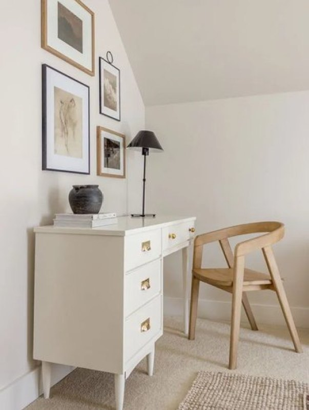 neutral home office with white desk and small gallery wall