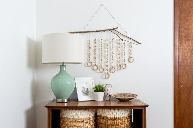 boho wall decor idea with wood wall hanging