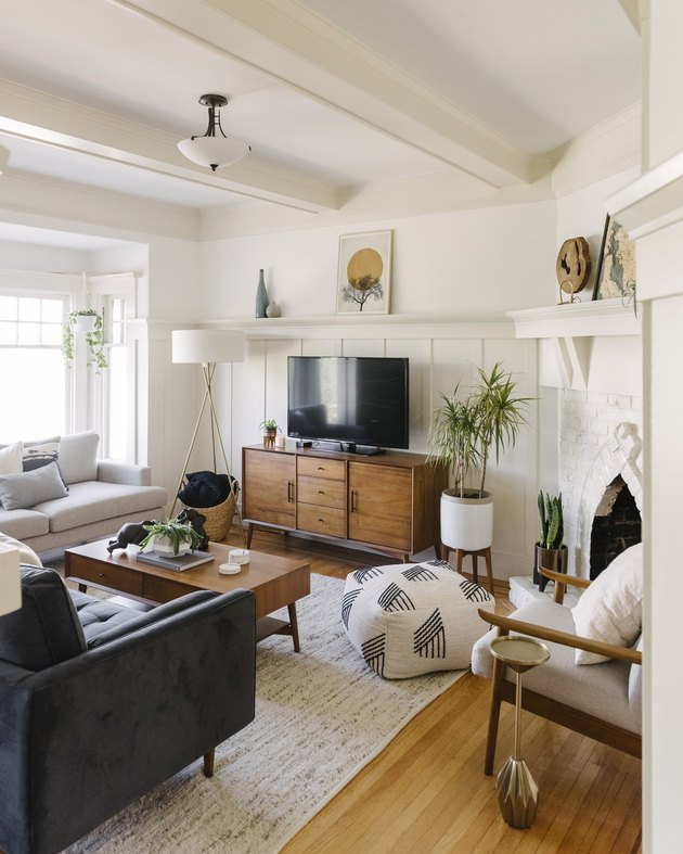 midcentury modern bohemian living room with wood furniture