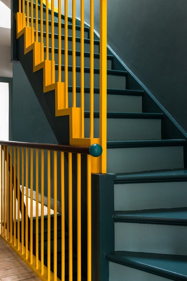 yellow painted stair rails