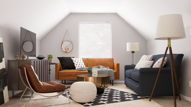 attic living room with pared down modern decor