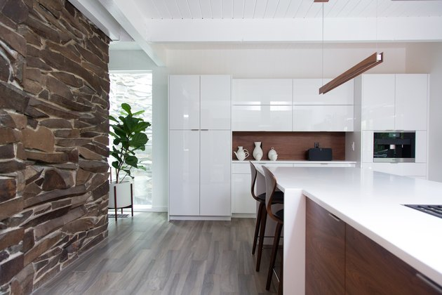 Modern kitchen with white cabinets and a fiddle-leaf fig tree