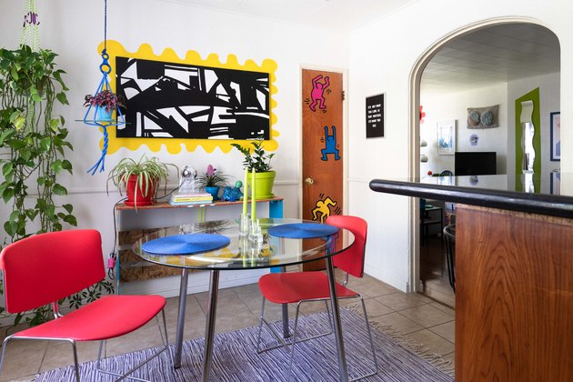 bright color idea in dining room idea with potted plants