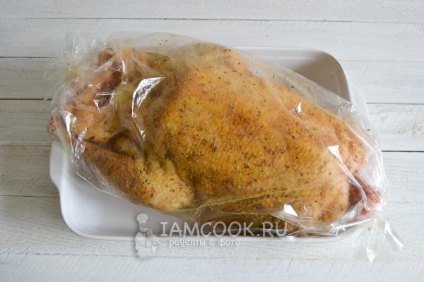 یک غاز را در یک آستین پخت قرار دهید