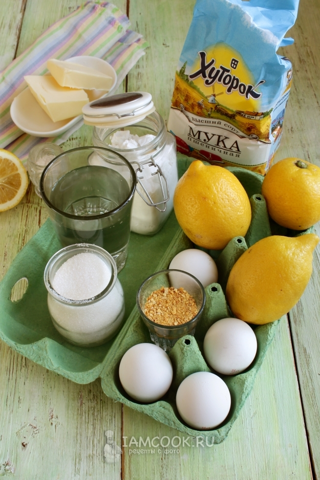 Ингредиенты для лимонного пая с меренгой