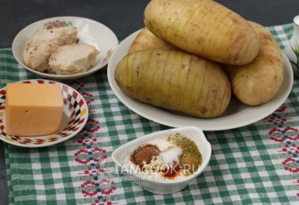 Картошка-гармошка с курицей в духовке — рецепт с фото пошагово