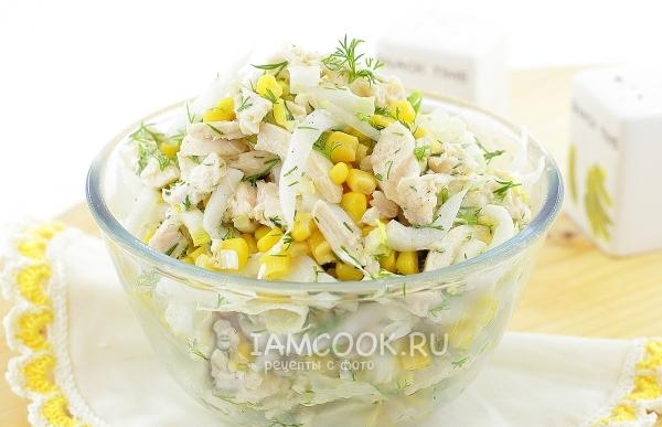 Салат с пекинской капустой и кукурузой — рецепт с фото и видео