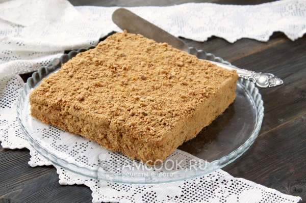 Торт из печенья и сметаны без выпечки рецепт с фото пошагово