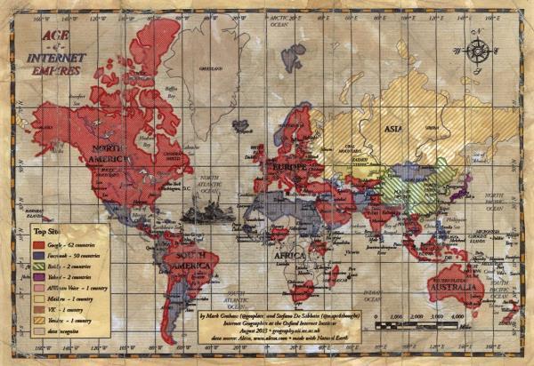 Mapa mostra qual o site mais acessado da internet em cada país