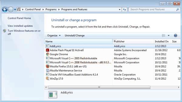 Como remover o AddLyrics do seu computador