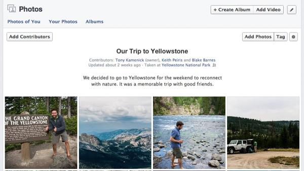 Facebook anuncia novos álbuns compartilhados