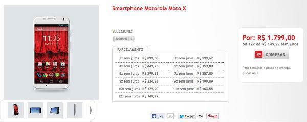 Moto X será vendido por R$ 1,7 mil no Brasil