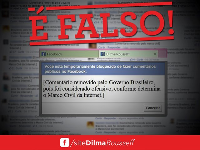 No Facebook, Dilma desmente acusações de censura do Marco Civil da internet