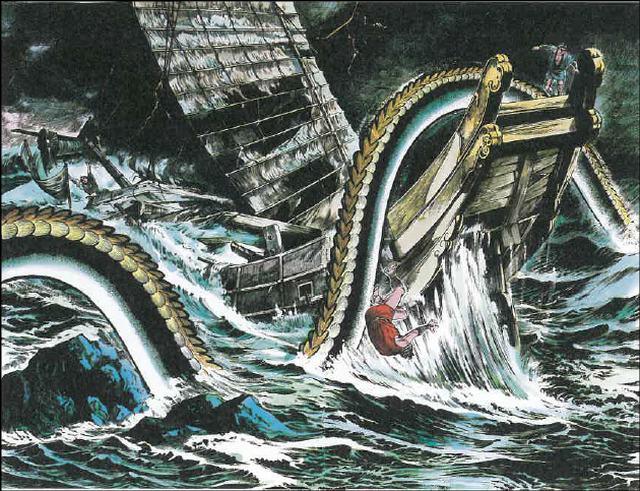 Ikuchi é uma enguia coberta de petróleo que afunda os barcos