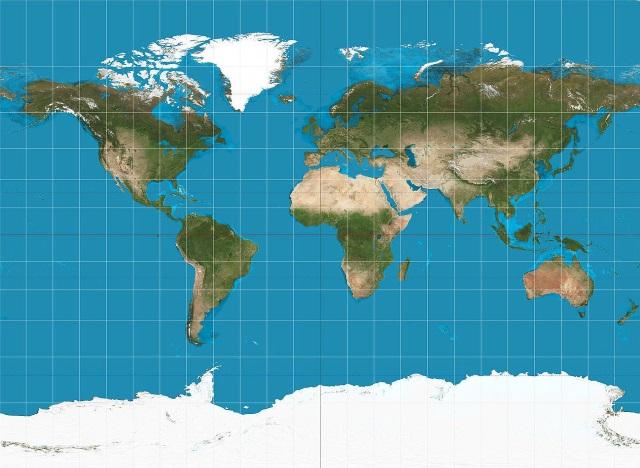 Esta é uma representação do nosso mundo criada a partir da Projeção de Mercator