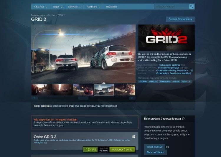 Grid 2 kostenlos bei Steam, aber nur für diejenigen, die das Spiel heute bis 14 Uhr herunterladen