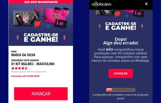 Captura de tela de banners de falsas promoções com a marca O Boticário