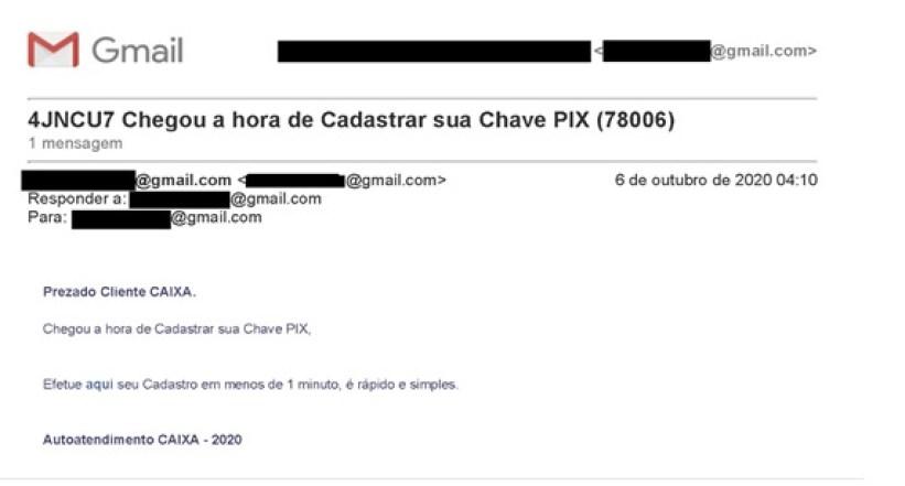 Um exemplo de email fraudulento sobre o tema.