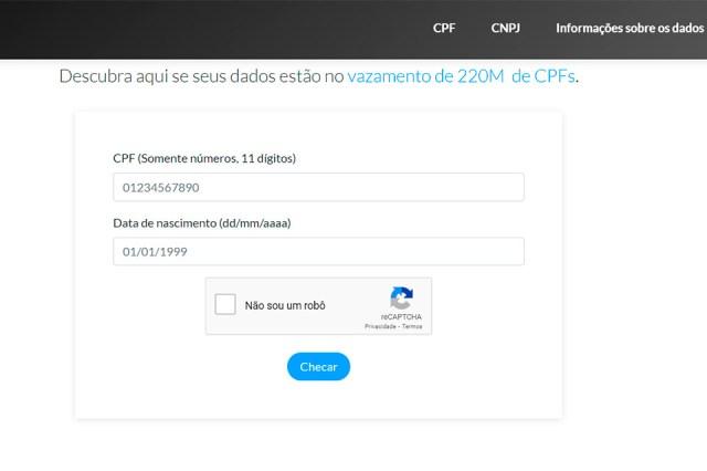 A verificação só exige o número do CPF e data de nascimento