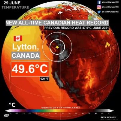 Onda de calor leva Canadá a temperaturas extremas.