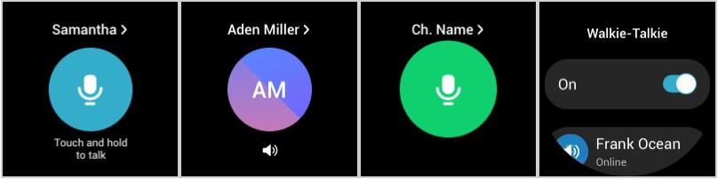 WalkieTalkie app buttons for Galaxy Watch 4.