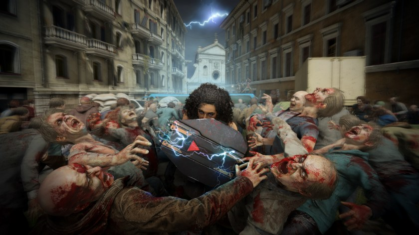 Vanguard Class uses a powerful electrified shield to destroy the zombies it encounters along the way.