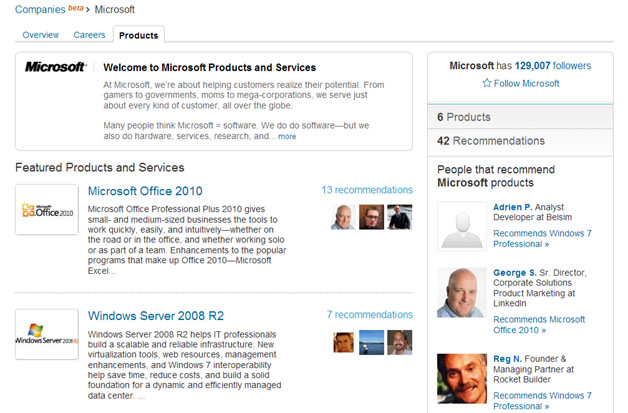 LinkedIn Presents Product Recommendations