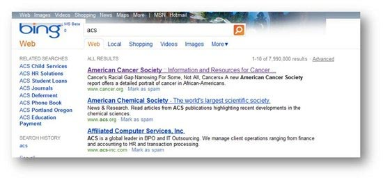 Bing American Cancer Society Results - Based on New Personalized Features