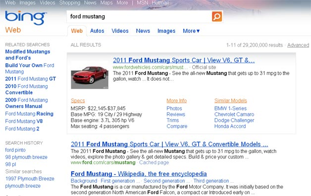 Bing Auto Results