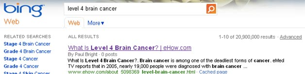 Bing Brain Cancer result