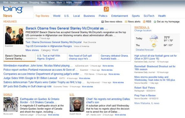 Bing News Gets New features