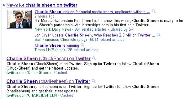 Chuck Sheen over Charlie Sheen on Google?
