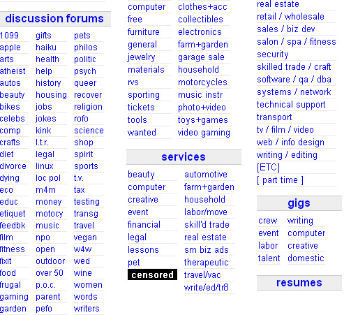 Craigslist censors adult services section
