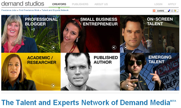 Talent and Expert Network from Demand Media - part of demand studios content creation arm