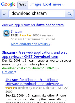 Go to mobile app download page right from Google Mobile Search Results