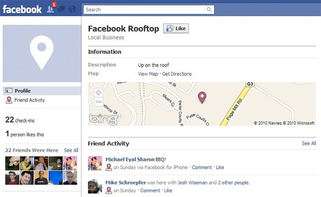 Facebook Places and Bing Maps