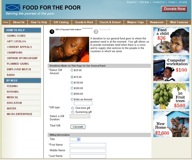 Food for the Poor - Convio powers donations using PayPal