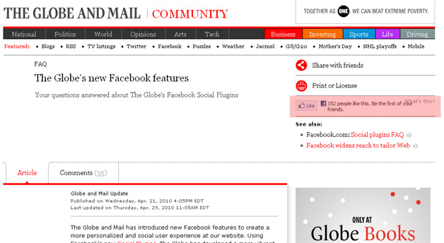 Globe and Mail use of Facebook Social Plugins to increase referrals
