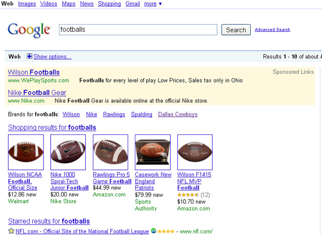 Football brand link in Google SERPs