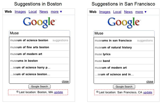 Google Tailors Mobile Search Suggestions to Location