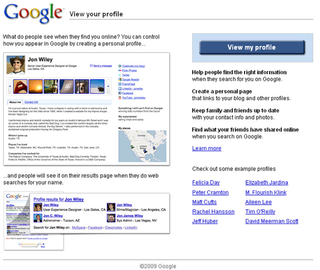 Google Profiles Home page