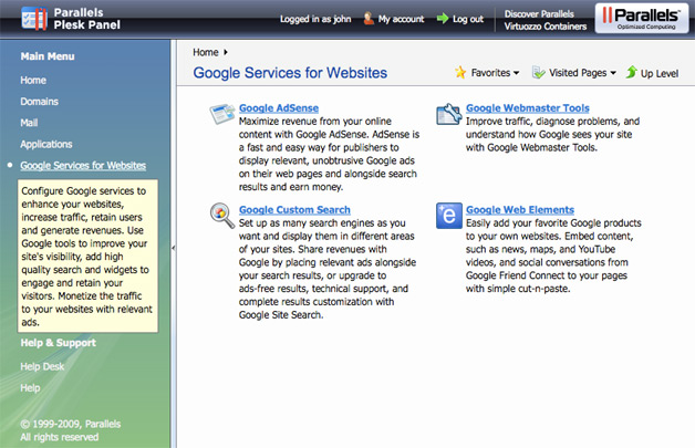 Google Services for Websites Goes to Plesk Panel
