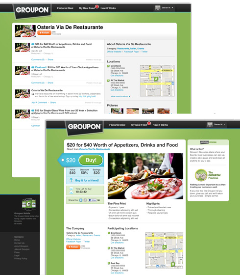 Groupon Stores and Deal Feed