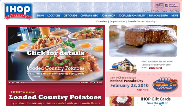IHOP Promotes National Pancake Day on its home page