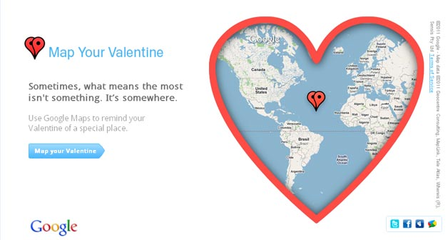 Map Your Valentine with Google